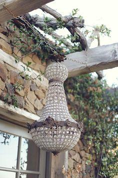 why not a crystal chandelier in your outdoor rooms? Chandelier, Decor, Garden Lighting, Outdoor Chandelier, Beautiful Chandelier, Chandelier Lamp, Beautiful Lighting, Lights, Lanterns