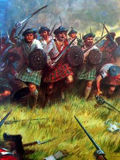 Scottish clansmen at the Battle of Culloden, Jacobite Uprising