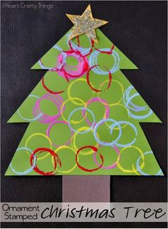 Ornament Stamped Christmas Tree Craft for kids.