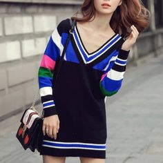 Womens deep V neck sweater knit color block sweaters dress