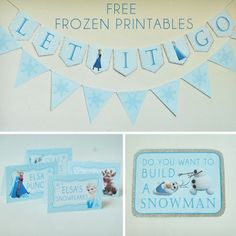 Free Frozen Party Printables set includes: Let It Go Banner, Thank You Tags, Water Bottle Wrappers, Food Labels, Snowflake Bunting and Party Signs Frozen Themed Birthday Party, Disney Frozen Party, Frozen Birthday Party, 6th Birthday Parties, Birthday Fun, Birthday Ideas, Birthday Banners, For Elise, Party Signs