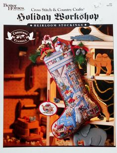 Better Homes & Gardens HOLIDAY WORKSHOP Heirloom Stocking - Counted Cross Stitch Pattern Chart Leaflet