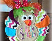 "Burlap Turkey Door Hanger- ""Gobble Gobble""- Chevron- Embroidered Thanksgiving Decor-Personalized Wall Decor"