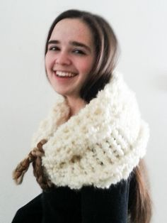 Cowl Scarf... Winter warm and soft Ivory by nouveauvintageltd