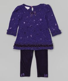Look at this #zulilyfind! Purple Ruffle Sequin Dress & Leggings - Infant & Girls by Gerson & Gerson #zulilyfinds