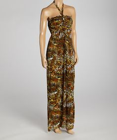 Take a look at the Tan & Black Tiger Halter Maxi Dress - Women on #zulily today!
