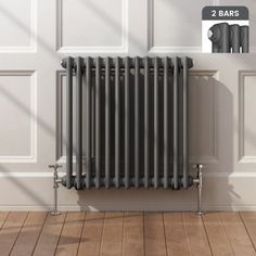 Roma Horizontal Double Column Traditional Gas Radiator in Anthracite 600mmx603mm - soak.com