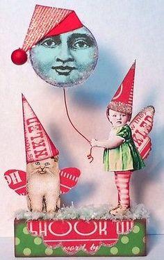 Fairy Moon Christmas Santa Cat Mixed Media Altered Prim aRt Folk Collage ooak