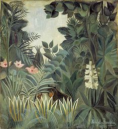 Henri Rousseau The Equatorial Jungle painting for sale - Henri Rousseau The Equatorial Jungle is handmade art reproduction; You can buy Henri Rousseau The Equatorial Jungle painting on canvas or frame. Art And Illustration, Free Illustrations, National Gallery Of Art, Art Gallery, National Art, Art Conceptual, Jungle Art, Post Impressionism, Inspiration Art