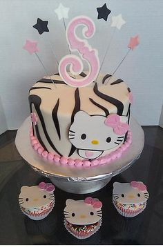 Hello Kitty zebra Baby Shower cake & cupcakes
