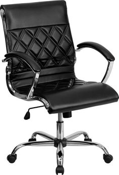 Flash Furniture GO-1297M-MID-BK-GG Mid-Back Designer Black Leather Executive Office Chair with Chrome Base