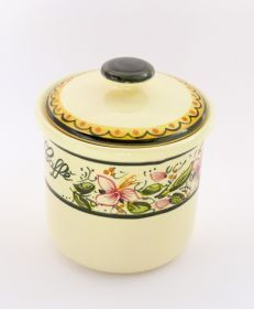 Ceramic coffee jar, decorated by hand. @madeinitaly #artigianato #ceramic #ceramica