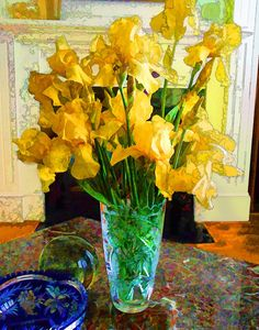 Yellow Irises in Green Vase. Enhanced photograph of a bouquet of yellow irises in a green crystal vase, living room setting. Printed on heavy gloss paper, the image measures 11 inches by 14 inches. When matted, it will fit into a standard 16 x 20 inch frame. A limited edition, print will come signed and dated.