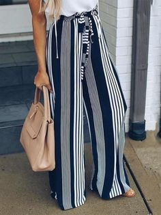 Striped Casual Straight Leg Pants – jollyluv black pants pants and booties cacki pants outfit overals outfit long long pants outfit white dress pants Flowy Pants Outfit, Casual Pants, Women's Casual, Dress Pants, Looks Casual Chic, Fashion Pants, Fashion Outfits, Fashion Edgy, Cheap Fashion