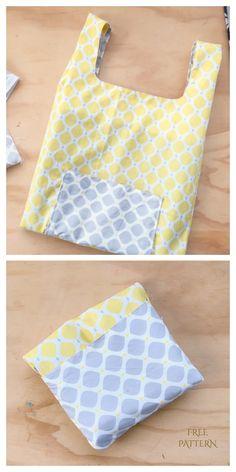 Folding Shopping Bags, Reusable Shopping Bags, Diy Reusable Bags, Sewing Patterns For Kids, Bag Patterns To Sew, Blanket Patterns, Crochet Patterns, Bag Pattern Free, Diy Purse