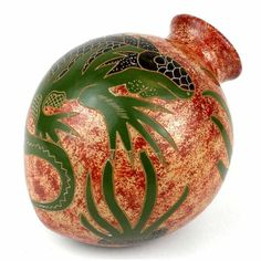 4 inch Chameleon Vase - Fair Trade by Esperanza en Accion for sale online Tall Vases, Pottery Vase, Vases Decor, Chameleon, Flower Vases, Fair Trade, Handicraft, Decoration, Christmas Bulbs