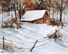 ORIGINAL Watercolor Landscape Painting 6x8 Inch, Winter Farm Landscape, Countryside Snow