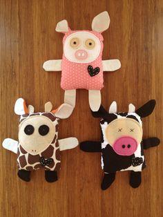 pig, cow, & giraffe softies!
