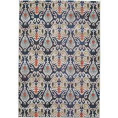 Abode Navy Power-Loomed Ikat Rug (7'10 x 9'10) | Overstock.com Shopping - The Best Deals on 7x9 - 10x14 Rugs
