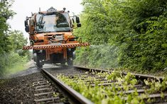 Download wallpapers Mercedes-Benz Unimog, 2018, washing rail rails, Special Trucks, new trucks, maintenance of the railway, service, Mercedes