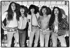 Photo of URIAH HEEP; Uriah Heep, Ken Hensley Lee Kerslake Gary Thain David Byron Mick Box, May 1974. Stockholm, Sweden