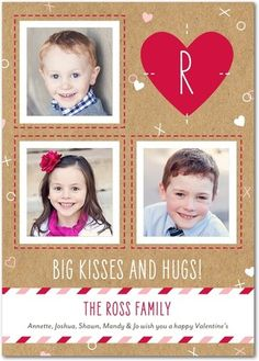 Stitched Kisses - Valentine's Day Photo Cards - Petite Alma in a neutral Walnut Brown with bright red accents. #VDay