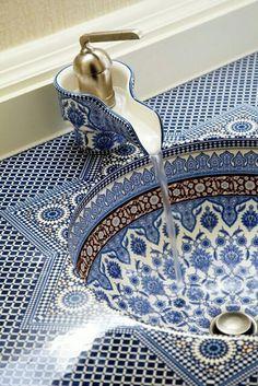 Blue and White Mosaic Bathroom Sink Delft, Mosaic Bathroom, Bathroom Basin, Moroccan Bathroom, Washroom, Cloakroom Sink, Kohler Sink, Mosaic Tiles, Bad Inspiration