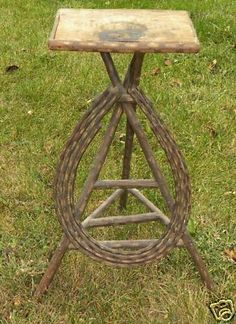 Tramp Art twig plant stand. Bought something similar at Scott Antique Mart in ATL for $50 Its painted green...precious