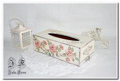 Wooden Tissue box Napkin box Decoupage Rose box  Kitchen by BiJuly