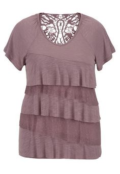 plus size tee with ruffles and crochet (original price, $34) available at #Maurices