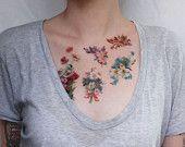 vintage flowers- floral tattoo pack- 5 temporary tattoos
