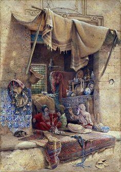 On market, oriental painting Empire Ottoman, Arabian Art, Old Egypt, Cairo Egypt, Islamic Paintings, Realistic Paintings, Arabesque, Islamic Art, Oeuvre D'art