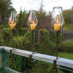 Glass Hurricane Railing Lanterns