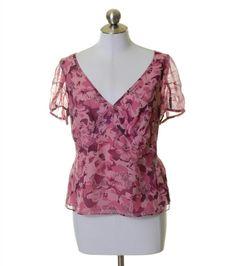Banana Republic Pink/Mauve Floral Silk Lined V-Neck Blouse Size M