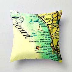 Beach Decor California Map Pillow  San Diego