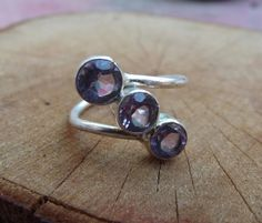 925 sterling silver ring with 3 amethyst di silveringjewelry