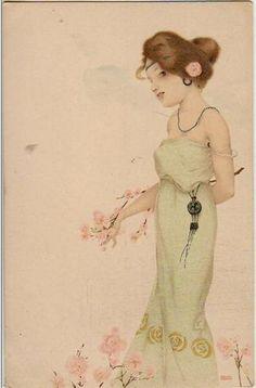 Girls with flowers at feet - Raphael Kirchner