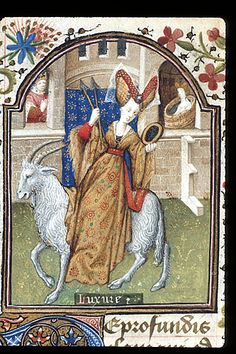 Detail of a miniature of a well-dressed woman riding a white goat, carrying arrows and a mirror, as a personification of Lust (Luxure); behind, David spies upon Bathsheba in her bath, in the Penitential Psalms.