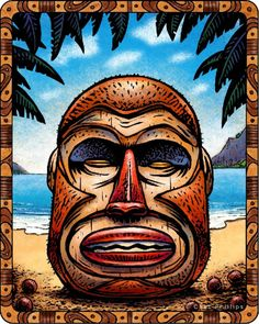 "Responsible for protecting the celestial coconut milk of life. The Coconut Tiki was born from the Giant Palm Tree of Everlasting Nourishment.   From ""Twilight of the Tiki,"" a series of 36 colorful Tiki illustrations."