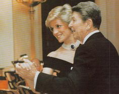 November 9, 1985:  Diana at a State dinner given by President and Mrs Reagan at the White House, Washington, D.C. She is pictured dancing with President Reagan.