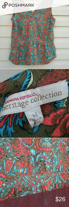Banana Republic heritage collection top Beautiful Banana Republic 100% silk floral design top, beautiful bright color combinations of blue orange yellow and olive, excellent like new condition worn once, V neck in front and back and zip and hook closure on side. banana republic heritage collection Tops