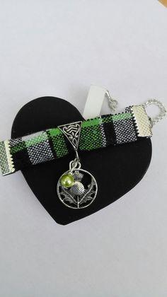 Bracelet Outlander chardon Ecosse tissu vert Irlande argenté féérique Jamie Claire Fraser : Bracelet par miss-perles