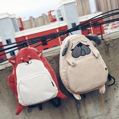 The Preppy Style animal prints Canvas Backpack men and Women for Adolescent Children Cute Puppy Cartoon Small Fox Bags Animal Backpacks, Girl Backpacks, School Backpacks, Canvas Backpack, Backpack Bags, Fashion Bags, Fashion Backpack, Fox Bag, Bebe