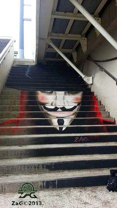 Street art in Brest (Recouvrance bridge / Pont de Recouvrance), France, by ZAG. Photo by ZAG MATCH. Just my favorite thing (street art) of my favorite movie! 3d Street Art, Amazing Street Art, Street Artists, Amazing Art, Awesome, Banksy, Graffiti Art, Stair Art, Urbane Kunst