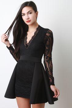Scuba Peplum V-Neck Lace Dress
