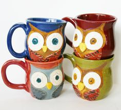 Mr. Owl Ceramic Mug - Choose Your Color - Retro Green Nautical Blue Rustic Red Vintage Plum - Original OOAK Design. $ 28, via Etsy.