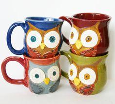 Mr. Owl Ceramic Mug - Choose Your Color - Retro Green Nautical Blue Rustic Red Vintage Plum - Original OOAK Design. $ 28, via Etsy.