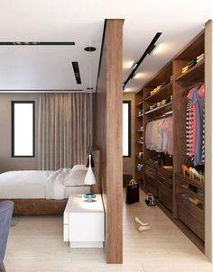 Creating an open closet does not require a lot of space, even you can store all your clothes in one room. See if you are able to create an open closet design Bedroom Divider, Closet Bedroom, Bedroom Storage, Bedroom Decor, Wardrobe Design Bedroom, Closet Wall, Closet Space, Shoe Closet, Bedroom Furniture