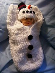 Adorable snowman baby cocoon with snowman head hat that is great on its own. great for photo props