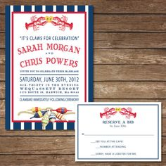 Printable Lobster Wedding Invitation with RSVP by BeyondDigital